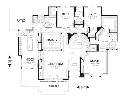 spiral staircase floor plan mascord house plan 1321 the leavenworth