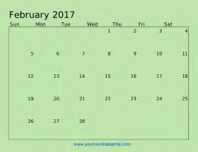 Calendar For February 2017 February Calendar