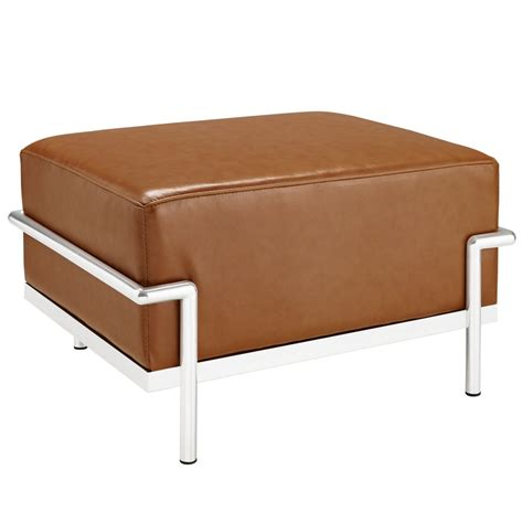 tan ottoman simple large leather ottoman modern furniture brickell