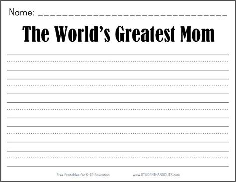 printable journal prompts for second grade the world s greatest mom free printable k 2 writing