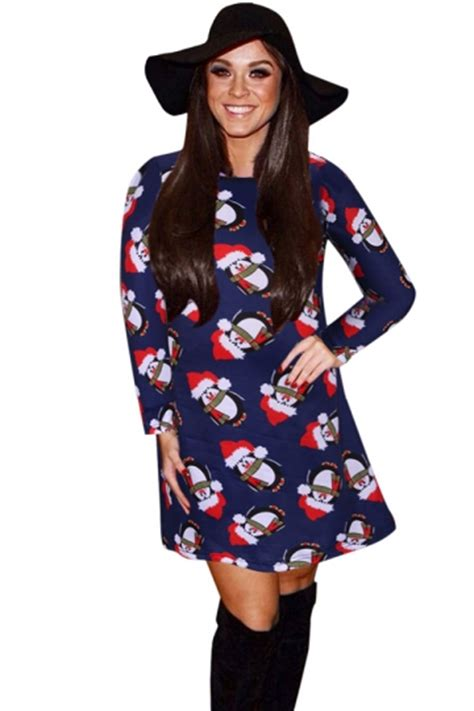 womens penguin printed sleeve midi dress