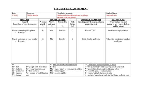 risk assessment form scarlett rowe