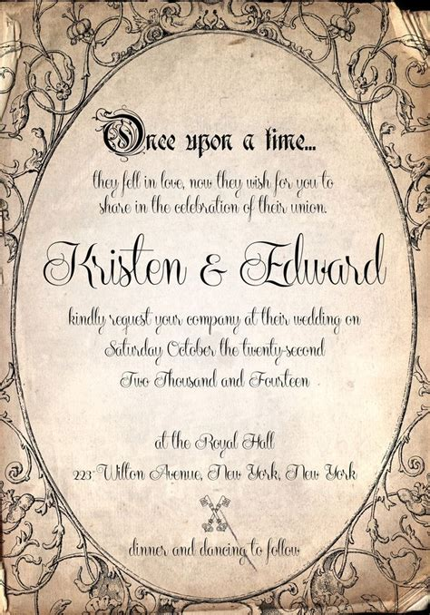 once upon a time wedding invitations wording storybook fairytale once upon a time wedding invitation by shewchuck stuff