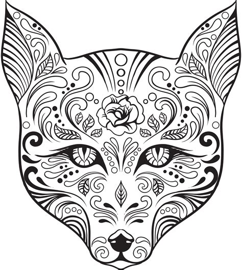 day of the dead owl coloring pages coloriage gratuit renard quot skull candy quot artherapie ca