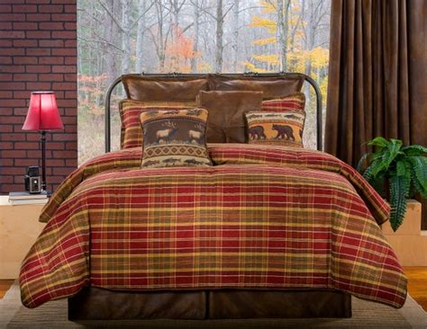 Lodge Style Bedding by 4pc Olive Green Brown Plaid Lodge Style Faux