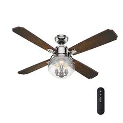 ceiling fan with remote and light 54 in led indoor polished nickel ceiling