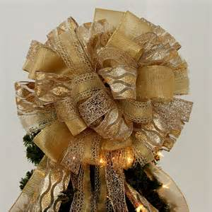 large gold sparkle christmas tree bow topper mantel wreath
