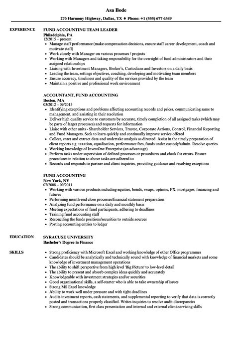 Fund Accountant Resume by Fund Accounting Resume Sles Velvet