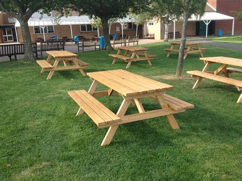 oak picnic bench new wooden garden picnic bench stock image image 91463783
