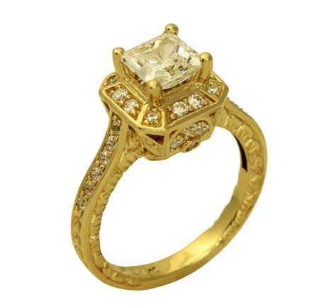 2 00 ct 14k yellow gold vintage antique princess