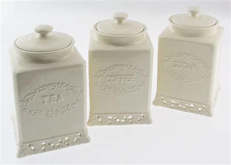 Elegant Kitchen Canisters Vintage Cream Design Tea Coffee Sugar Canisters Set Ebay