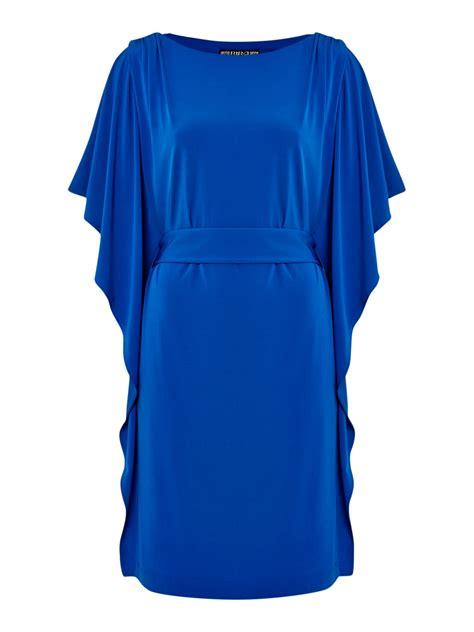 biba frill sleeve jersey dress with belt in blue lyst