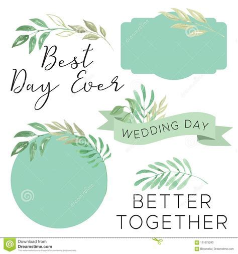 Watercolor Wedding Best Day Ever Foliage Leaves Leaf