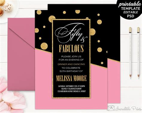 Rose Gold Birthday Invitation Pink And Gold Invite Ab16 Birthday Invitations Pinterest Gold Birthday Invitation Template