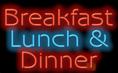 breakfast lunch dinner neon sign fg   jantec neon