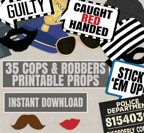 printable police photo booth props 35 cops and robbers party props police party theme photo
