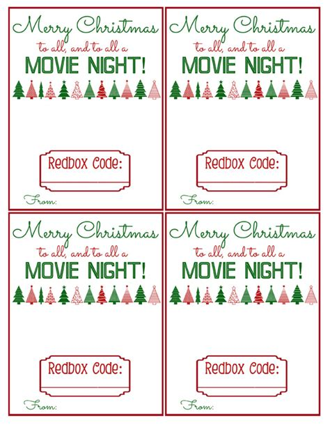printable movie gift cards redbox gift printable bits of everything