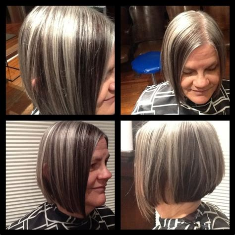 pictures of grey hair with lowlights lowlights make this natural gray really modern and chic