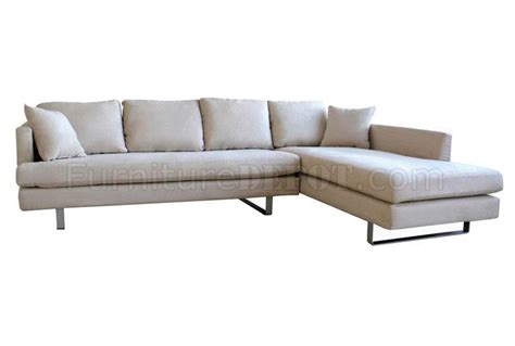 modern microfiber sofa cream microfiber modern sectional sofa w pillows metal legs