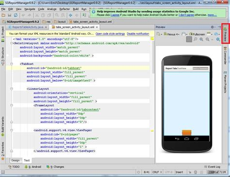 android studio button change layout where can i change to layout editor using android studio