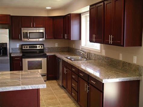 kitchen decorating ideas dark cabinets the wall the cherry wood kitchen cabinets with black granite knotty
