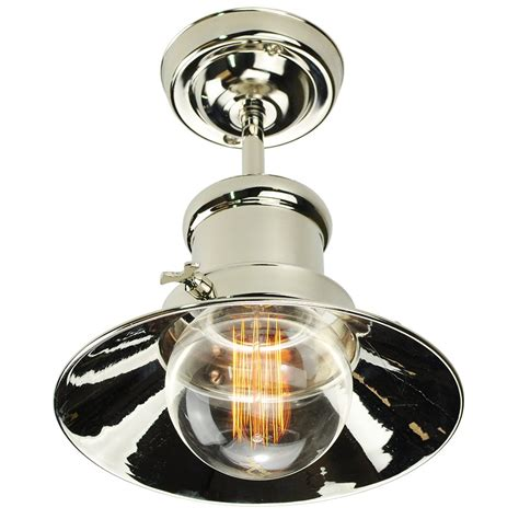 nickel semi flush light for low ceiling in nautical