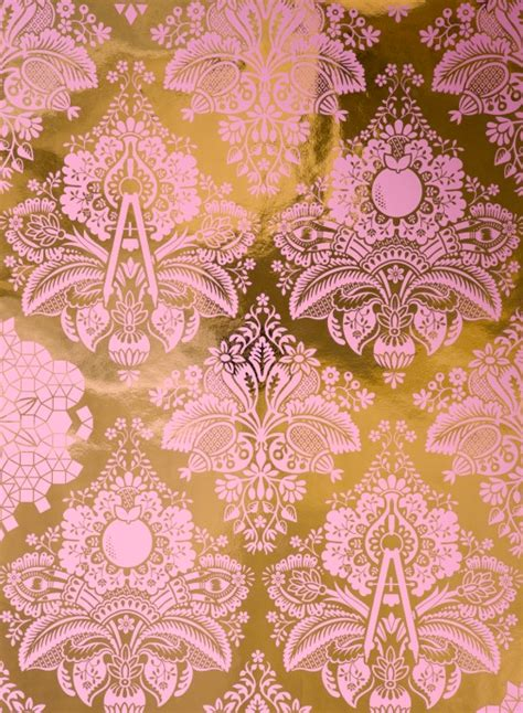 wallpaper pink and gold fruits of design damask wallpaper little crown interiors
