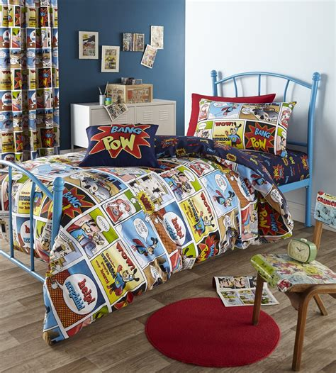 geek bedding comic strip kids childrens boys geek super hero bedding
