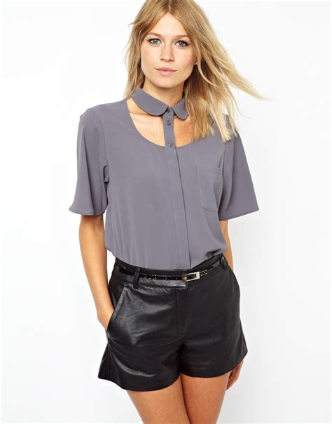 Muta55 Cut Out Blouse asos blouse with pan collar and cut out yoke in gray lyst