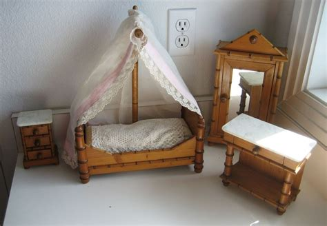 bamboo bedroom set antique doll toy miniature furniture french faux bamboo