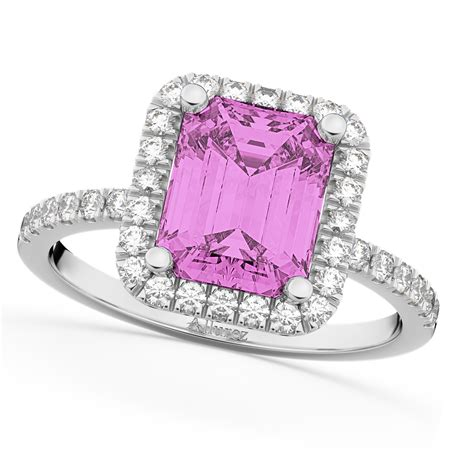 pink sapphire engagement ring 18k white gold 3 32ct