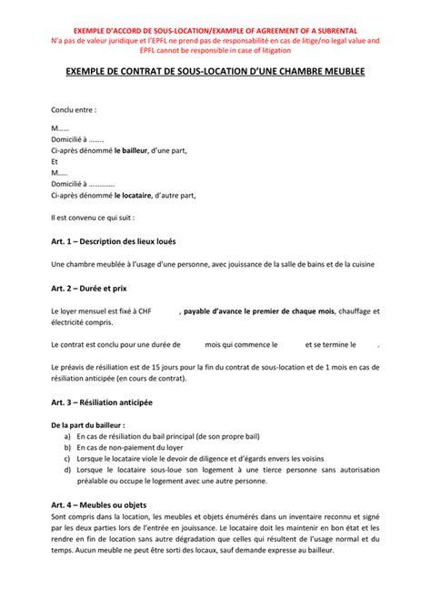 Exemple De Contrat De Location Meublée by Exemple De Contrat De Sous Location D Une Chambre