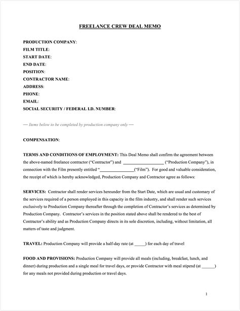 Download Free Crew Deal Memo Template Production Terms And Conditions Template