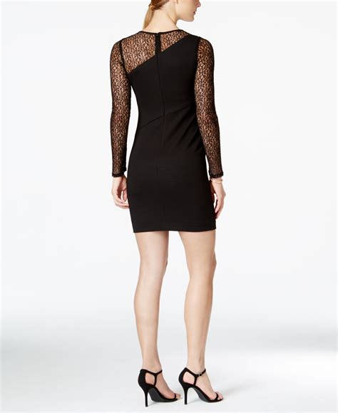 Guess Dress Bodycon guess illusion lace bodycon dress in black lyst