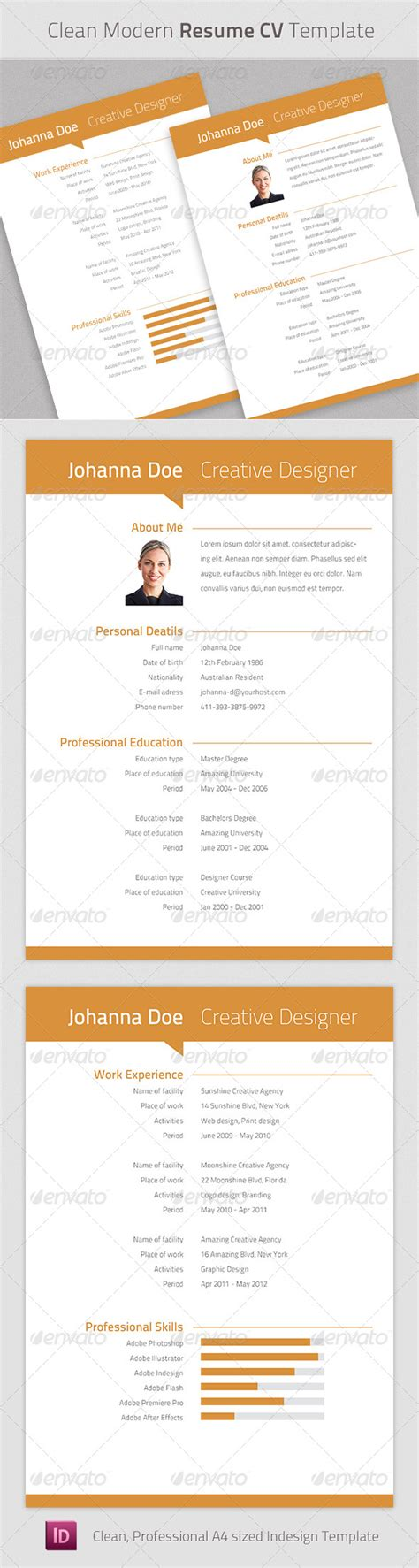 3 Cv Resume Indesign Templates Clean by Clean Modern Resume Cv Indesign Template Graphicriver