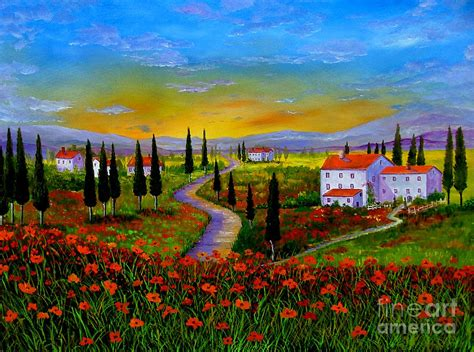 painting images tuscany sunset by inna montano