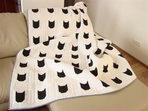 Black And White Quilts For Sale by Modern Quilt Black White Quilt Custom Quilt Cat Quilt