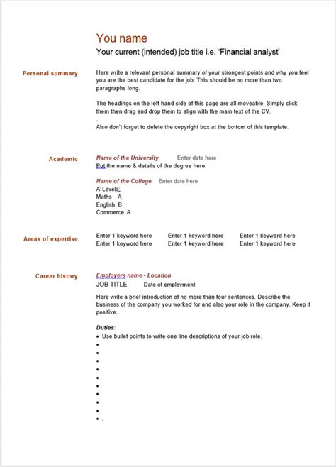 10 Blank Resume Templates Free Word Psd Pdf Sles Blank Resume Templates For Microsoft Word