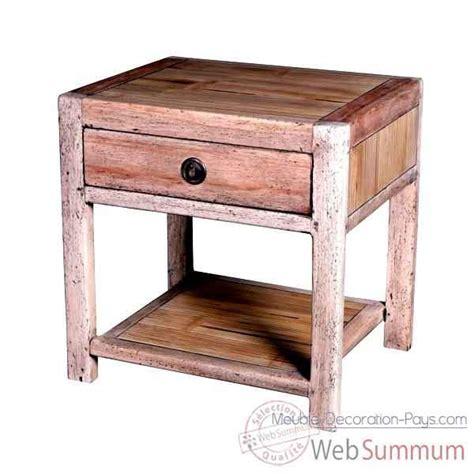Table De Chevet 1 Tiroir Avec 1 Niche En Bois Naturel Table De Chevet Meuble D