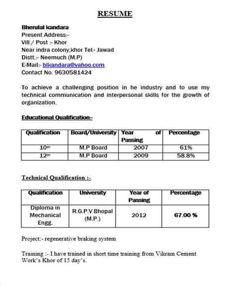 Resume Format For Freshers Engineers Mechanical Resume Format For Diploma Holders Best Resume Gallery