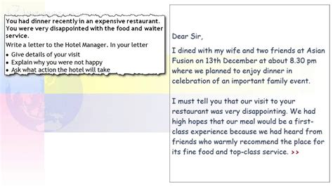 Complaint Letter For Computer Problems ielts general task 1 writing problems in a restaurant