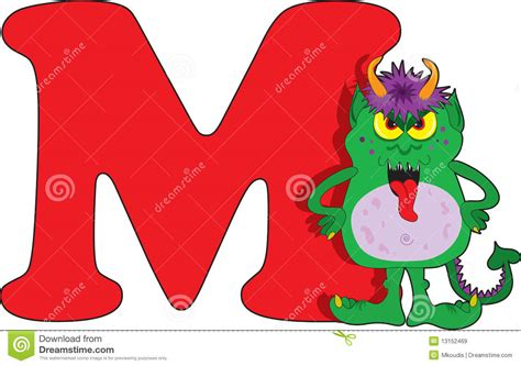a m letter m with a monster stock vector image of horns