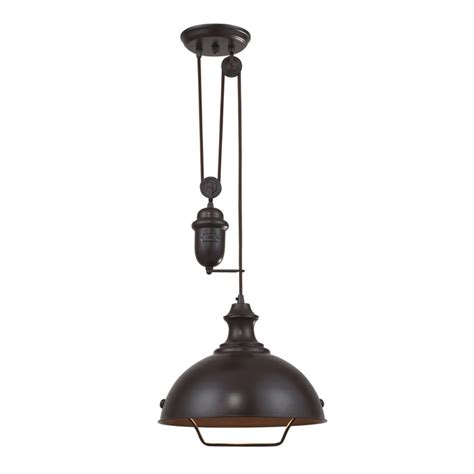 Pulley Island Light Farmhouse Pulley Pendant Light Bronze Finish 65071 1 Destination Lighting