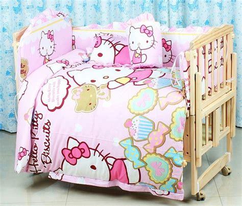Promotion 7pcs Hello Kitty Baby Bedding Set Cartoon Beep Hello Crib Bedding