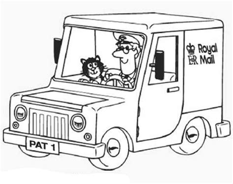 postman pat free colouring pages