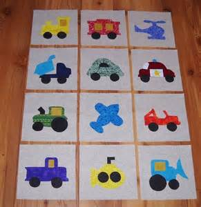 Transportation Quilt Pattern by Set Of 12 Transportation Vehicles Applique Quilt Blocks