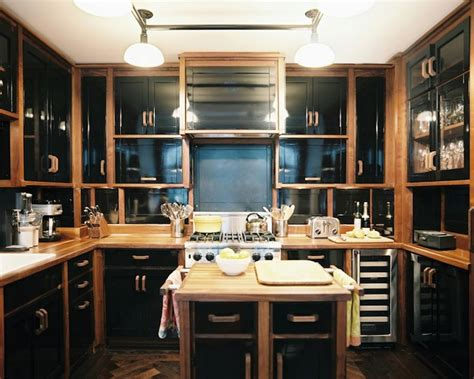 High Gloss Kitchen Cabinets Eclectic Kitchen Black And Brown Kitchen Cabinets