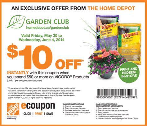 the home depot garden club coupons save 10 when you