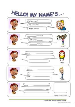 english worksheets name tags girls 78 free esl hello worksheets