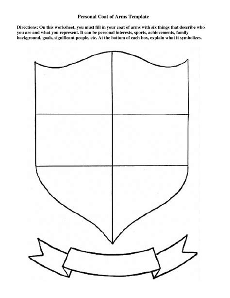 Printable Coat Of Arms Template personal coat of arms template education